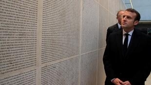 French President Emmanuel Macron visits the renovated Wall of Names at the Shoah Memorial in Paris, France January 27, 2020.