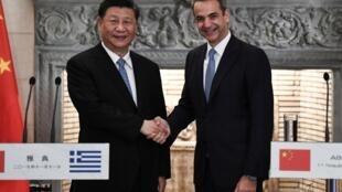 习近平到访希腊,与希腊总理米佐塔基斯举行记者会,2019年11月11号