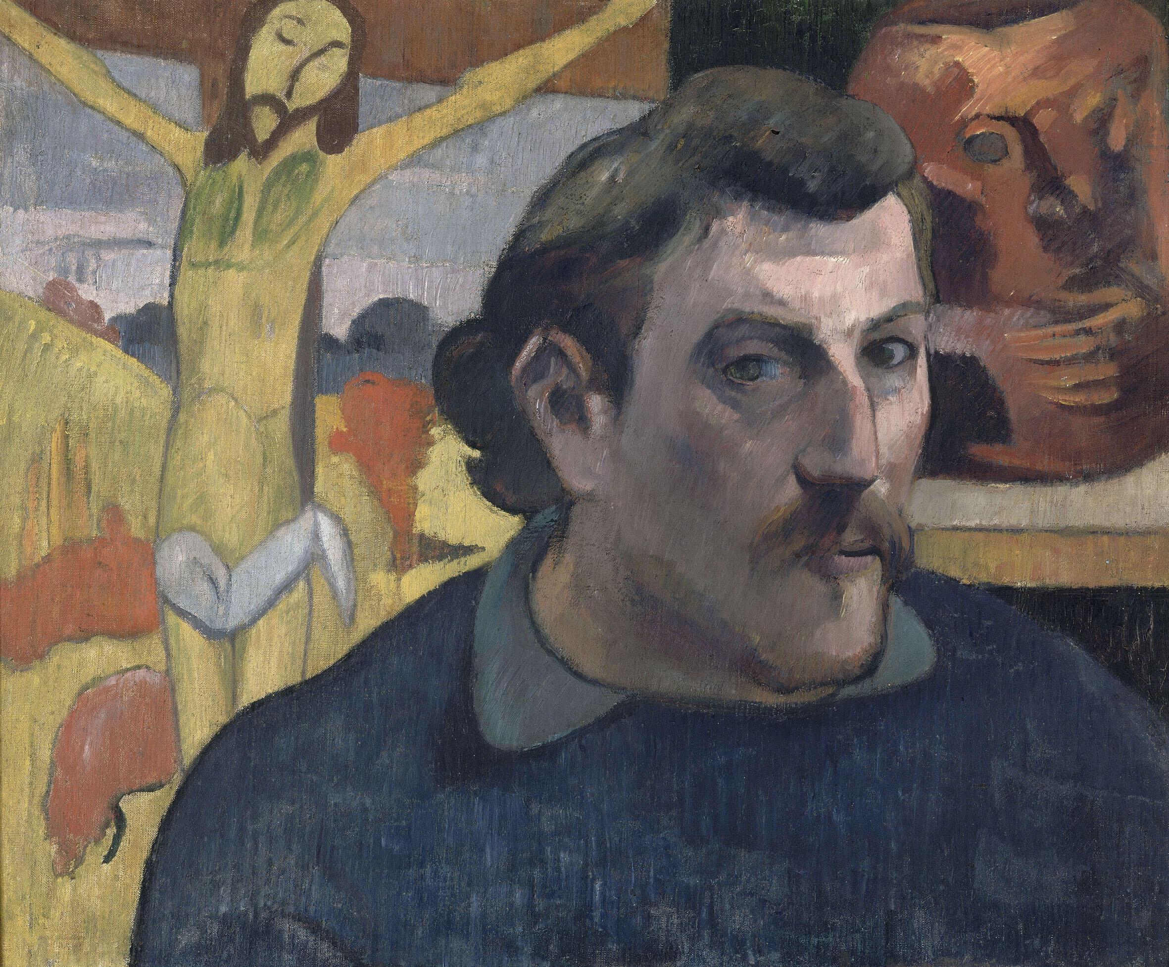"""Paul Gauguin (1848-1903) : """"Portrait de l'artiste au Christ jaune"""", 1890-1891."""