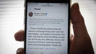 Le message d'avertissement s'affichant au-dessus du tweet de Donald Trump posté vendredi 29 mai, et considéré comme dangereux par Twitter