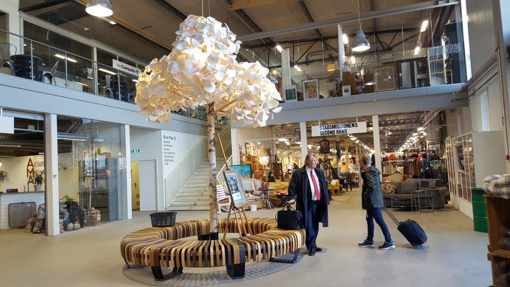 Le centre commercial d'Eskilstuna où se vendent des objets d'occasion auxquels on a donné une seconde vie.