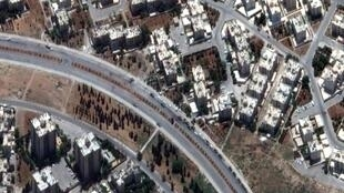 Une image satellite montre le quartier de Hamadaniya à Alep, le 6 août 2012.