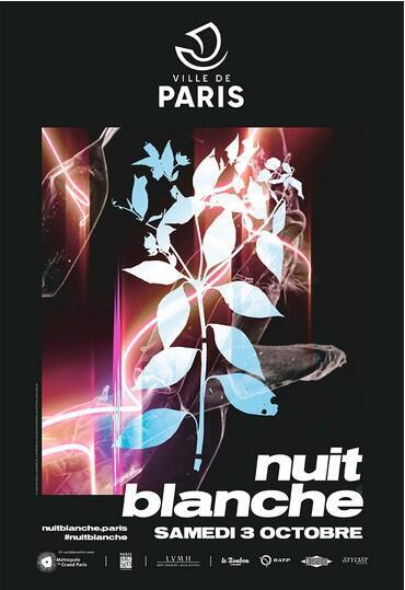Poster for Paris's Nuit Blanche, October 2020, based on a sculpture installation by artist Maxime Rossi