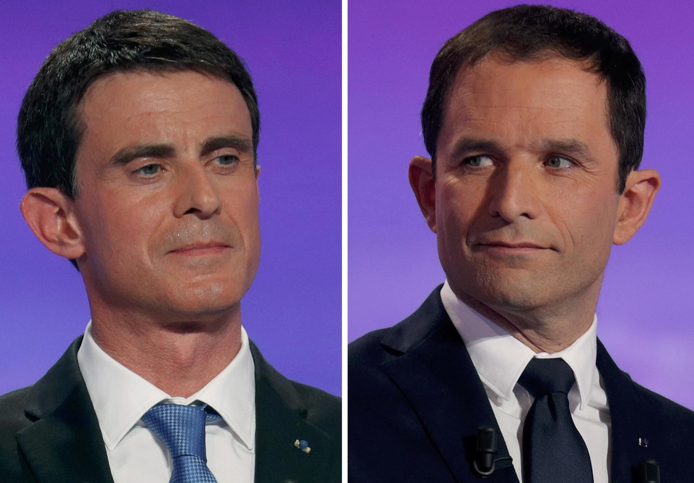 Манюэль Вальс (слева) и Бенуа Амон - финалисты праймериз социалистов 29 января 2017.