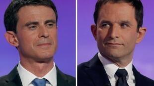 Manuel Valls e Benoit Hamon,finalistas das primárias de esquerda  cujo escrutínio decorre neste dia 29 de Janeiro.