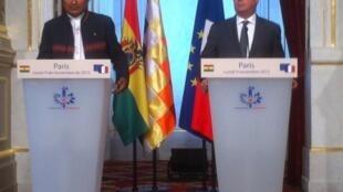 Los presidentes Evo Morales y François Hollande, este 9 de noviembre de 2015 en París.