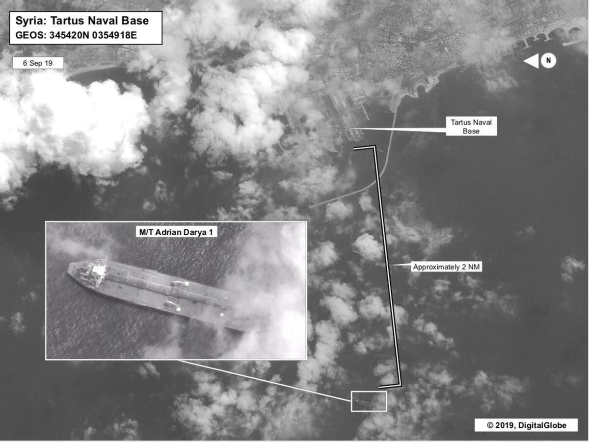 """تصویر ماهوارهای نفتکش ایرانی """"آدریان دریا ۱"""" که روز شنبه ١۶ شهریور/ ٧ سپتامبر ٢٠۱٩ از سوی کمپانی """"Maxar Technologies"""" واقع در کلرادوی آمریکا منتشر شد."""