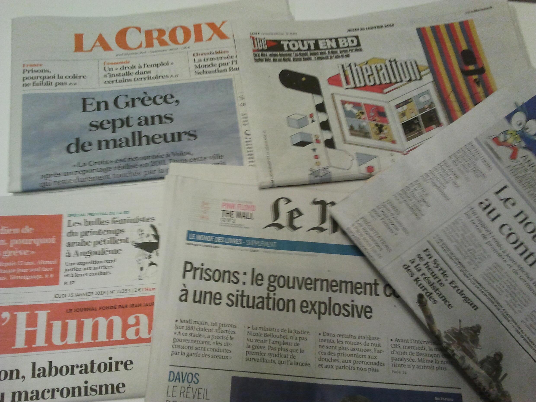 Primeiras páginas dos jornais franceses de 25 de janeiro de 2018