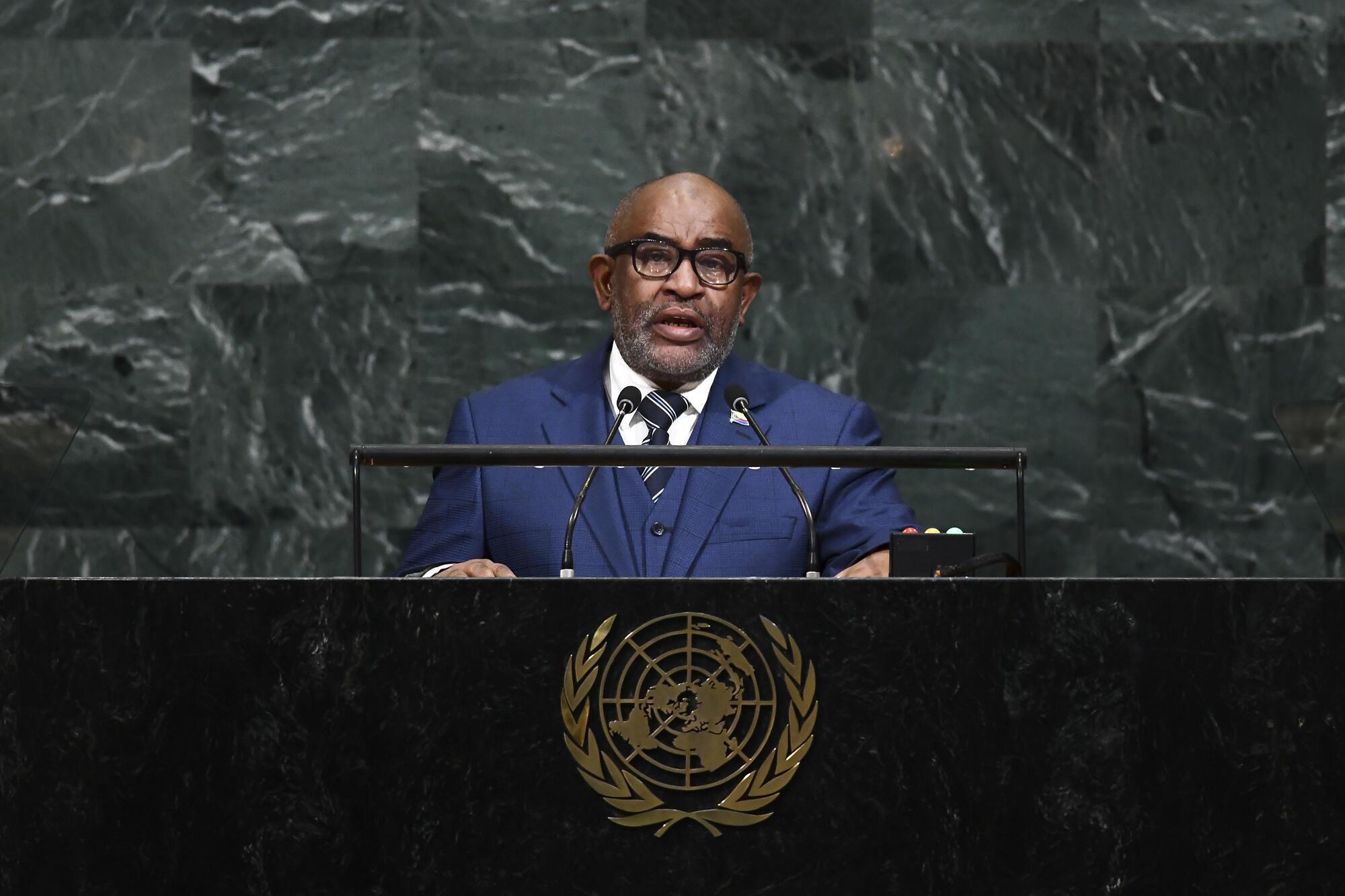 Le président comorien Azali Assoumani lorsqu'il s'adresse à la tribune des Nations Unis le 21 septembre 2017.