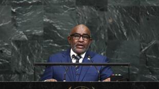Le président comorien Azali Assoumani lorsqu'il s'adresse à la tribune des Nations unies le 21 septembre 2017.