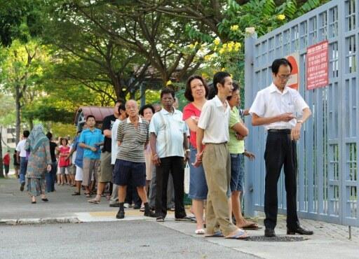Voters queue in Singapore
