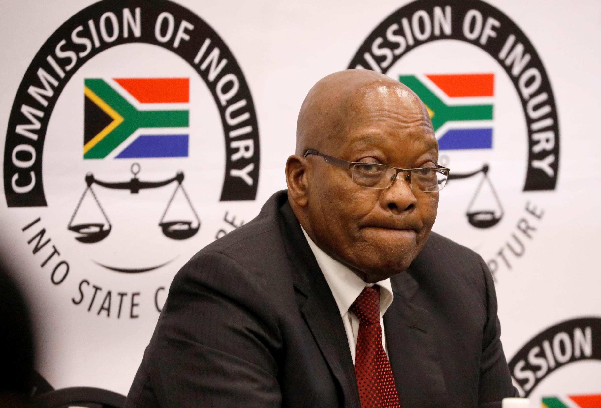 Jacob Zuma, in front of an anti-corruption commission in Johannesburg in July