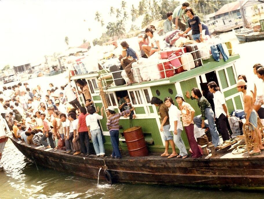 Boat people vietnamien. Photo d'archive, 1975
