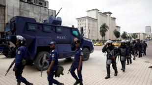Policiers à Kinshasa, janvier 2019.