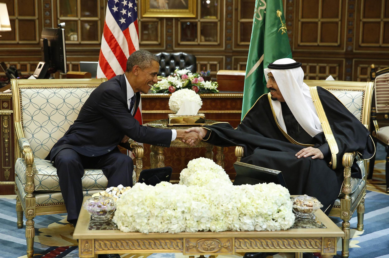 Tổng thống Mỹ và tân vương Ả Rập Xê Út Salaman tại Riyad. Ảnh ngày 27/01/2015.