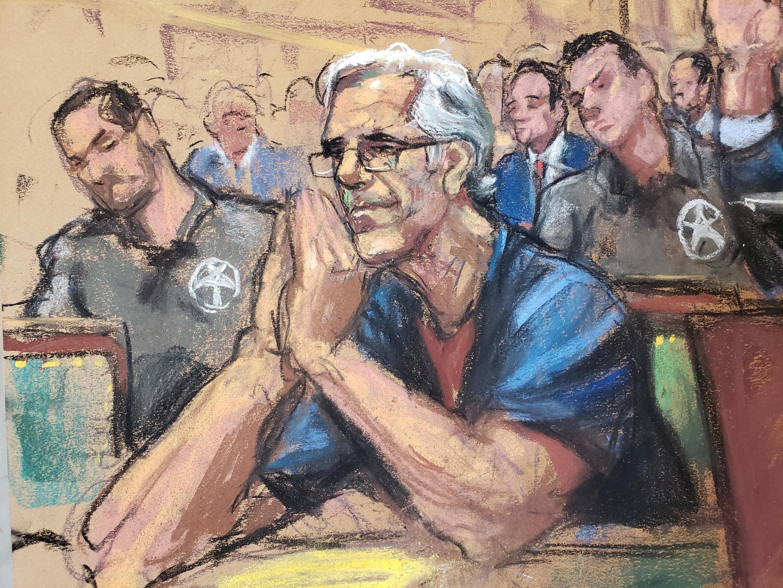 Jeffrey Epstein looks on during a a bail hearing in U.S. financier Jeffrey Epstein's sex trafficking case, in this court sketch in New York