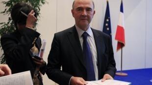 法國財長皮埃爾·莫斯科維西就穆迪斯下調法國債務信用評級答記者問,2012年11月20日。