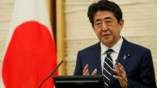 日本首相安倍晋三出席记者会资料图片