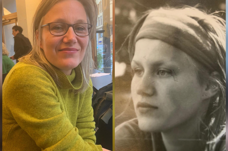A arquiteta e paisagista alemã Anja Steglich, 46 anos, e aos 16, logo apos a queda do Muro de Berlim, em 1989.