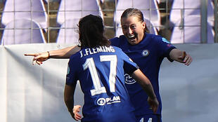 Fran Kirby (R) was among the scorers as Chelsea strolled into the last four of the women's Champions League