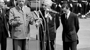 El general de Gaulle con el presidente argentino Arturo Umberto Illia, el 3 de octubre de 1964 en Buenos Aires.