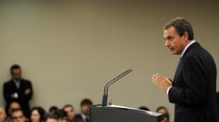 Les élections sont avancées au 20 novembre pour dissiper les incertitudes économiques et politiques, a expliqué José Luis Rodriguez Zapatero lors d'une conférence de presse, le 29 juillet 2011, à Madrid.