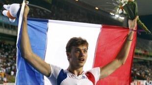 Christophe Lemaître, campeão dos 100 metros, no campeonato europeu de Barcelona.