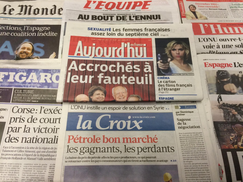 Primeira páginas dos diários franceses de 21/12/2015