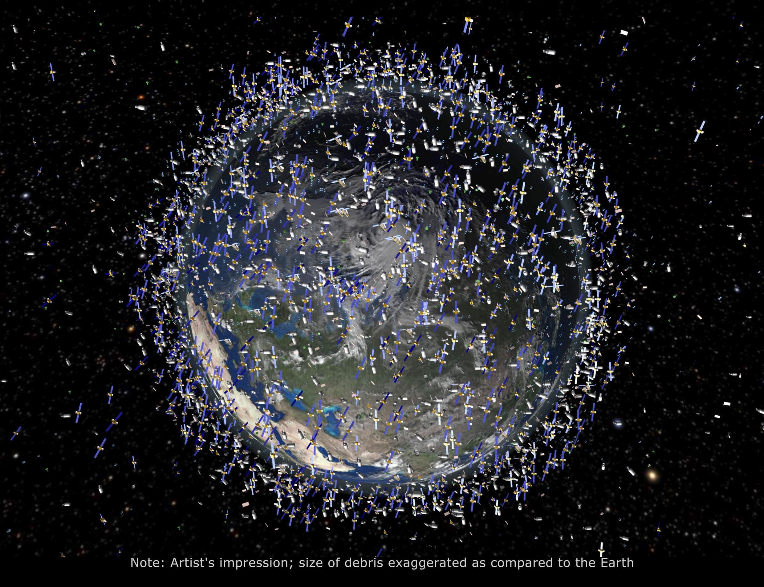 An artist's impression released by the European Space Agency depicting the debris field in low Earth orbit, which extends to 2000 kilometres above the Earth's surface.