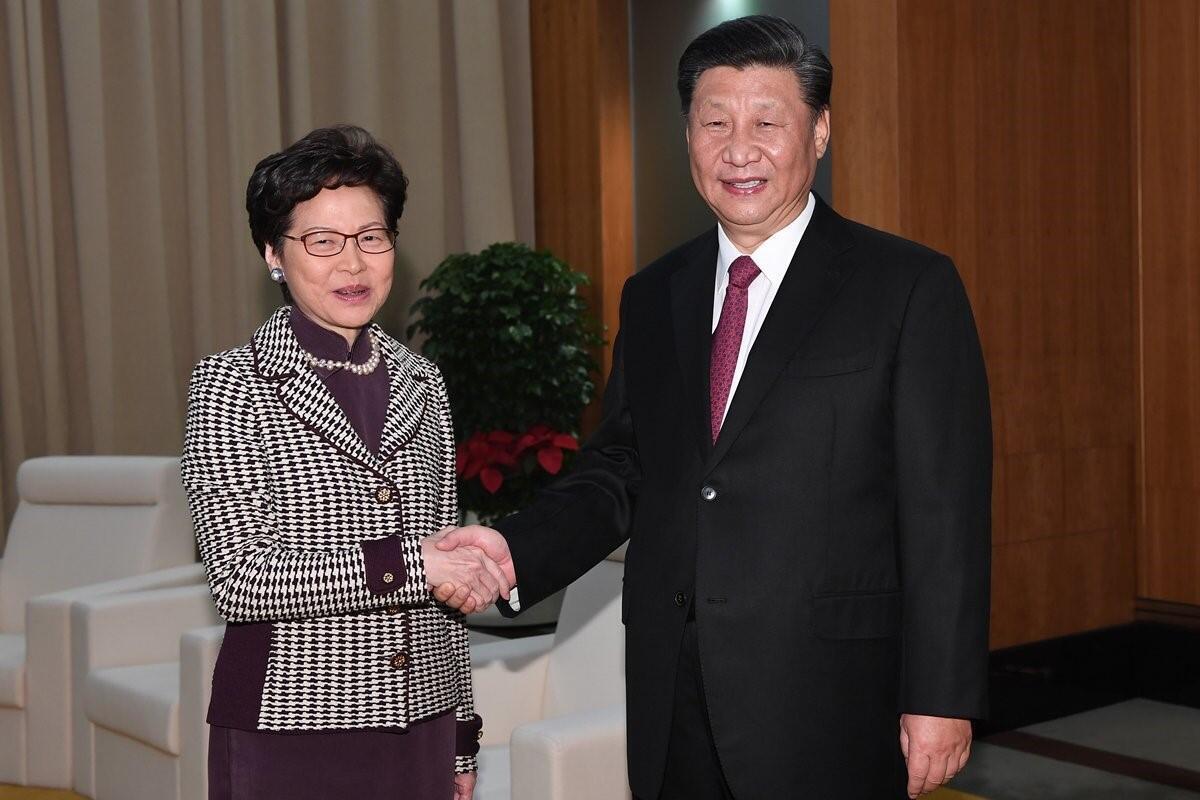 中國主席習近平在澳門接見林鄭月娥率領的代表團,這是兩人1個多月來的第三次見面2019年12月