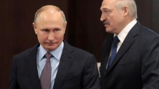 Tổng thống Nga Vladimir Putin (T) tiếp đồng nhiệm Belarus Alexander Lukashenko tại Trung tâm giáo dục Sirius, trong khu nghỉ bên bờ Biển Đen, Sochi, Nga, ngày 15/02/2019.