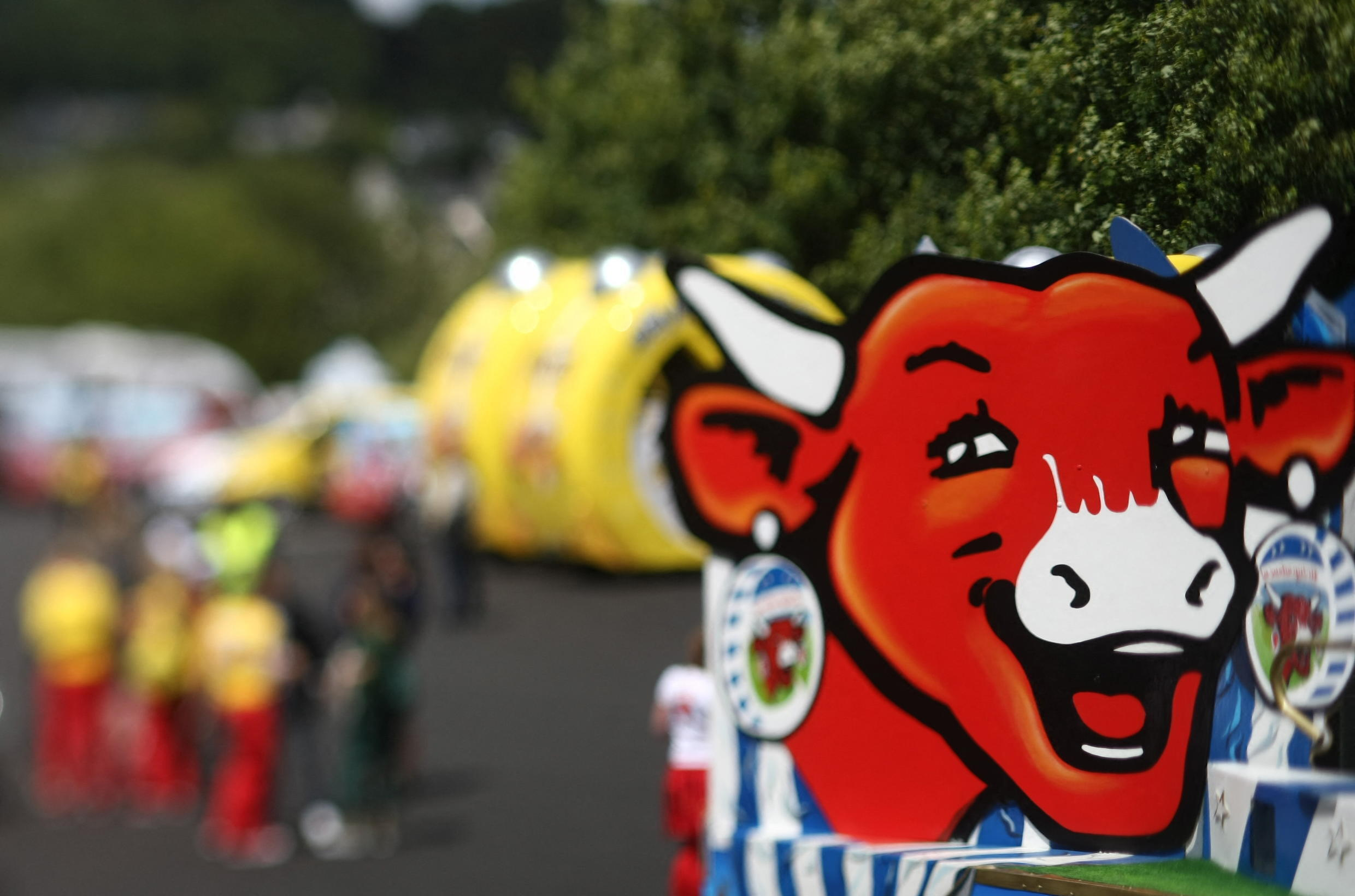 A Vache Qui Rit decorated vehicule on the Tour de France cycle race, July 3 2008 in Brest, western France,