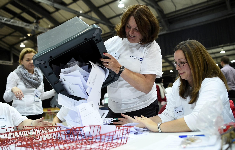 Подсчет результатов референдума о независимости Шотландии