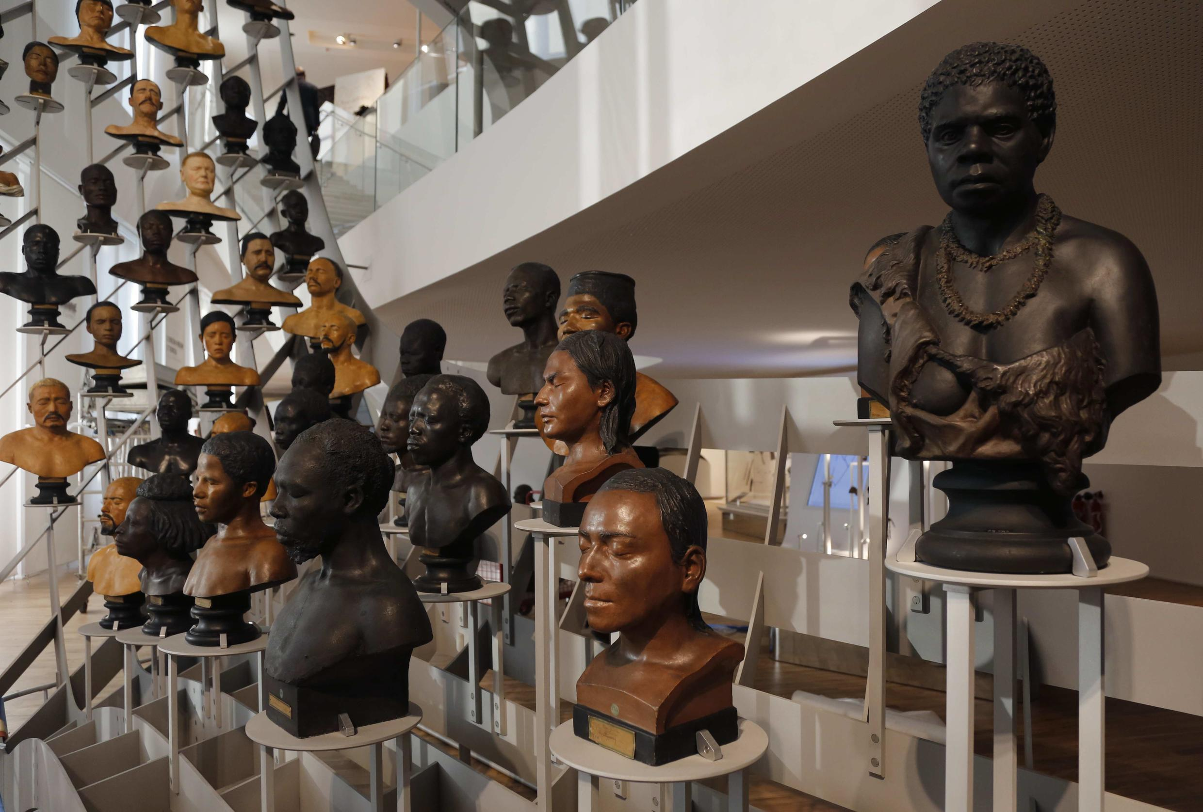 A gallery of busts from the 19th century at the Museum of Mankind (Musee de l'Homme) in Paris, 14 October 2015.