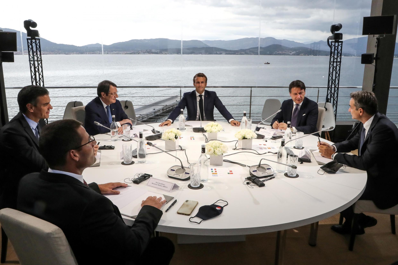 Emmanuel Macron ouvre le sommet Med7 avec six autres pays du pourtour méditerranéen, le 10 septembre 2020.