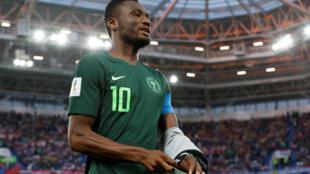 Le capitaine du Nigeria, Obi Mikel, lors du match contre la Croatie au Mondial 2018, le 16 juin 2018.
