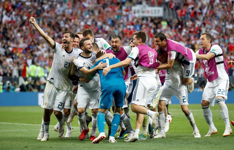 La Russie savoure son succès face à l'Espagne, le 1er juillet 2018.