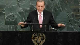 رجب طیب اردوغان، رئیس جمهوری ترکیه در برابر مجمع عمومی سازمان ملل.