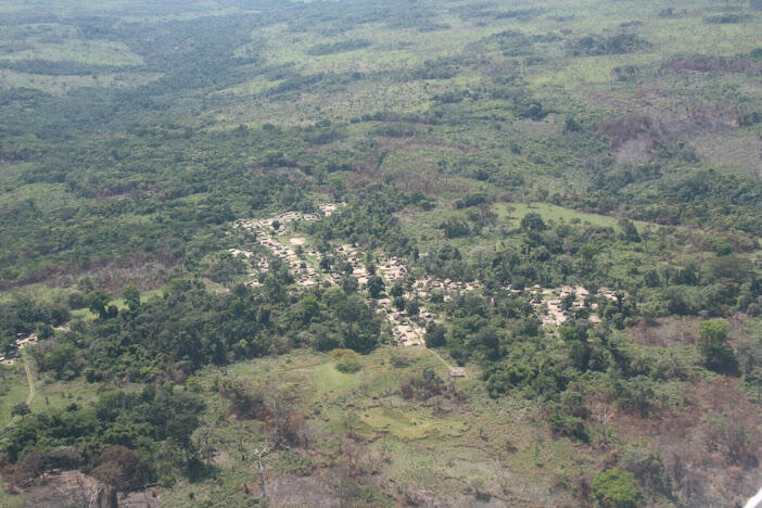 Aerial view of the Bateke station, home to Africa's largest agroforestry project situated 150km from Kinshasa, the capital of the Democratic Republic of Congo