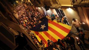 Défilé d'indépendantistes catalans à Vilafranca del Penedes, le 10 septembre 2017.