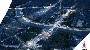 Imagem divulgada pela organização da candidatura Paris 2024 mostra capital francesa com parque olímpico iluminado.