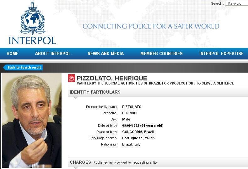 Captura do site da Interpol que divulga foto do Ex-diretor do Banco do Brasil, Henrique Pizzolato