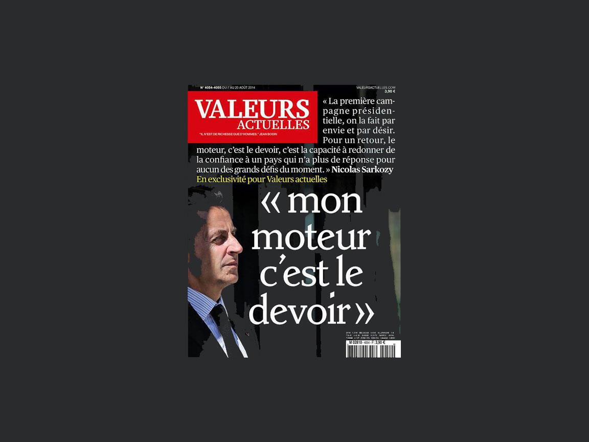 """""""O dever é minha motivação"""", disse o ex-presidente Nicolas Sarkozy à revista Valeurs Actuelles que chegou às bancas nesta quarta-feira (6).."""