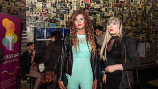 Tunisians transgenders arrive to attend the opening of the second edition of the Mawjoudin Queer Film Festival in the Tunisian capital Tunis