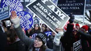 Activistas antiaborto intentan interrumpir una marcha de defensores del derecho al aborto, en Washington, el 22 de enero de 2019