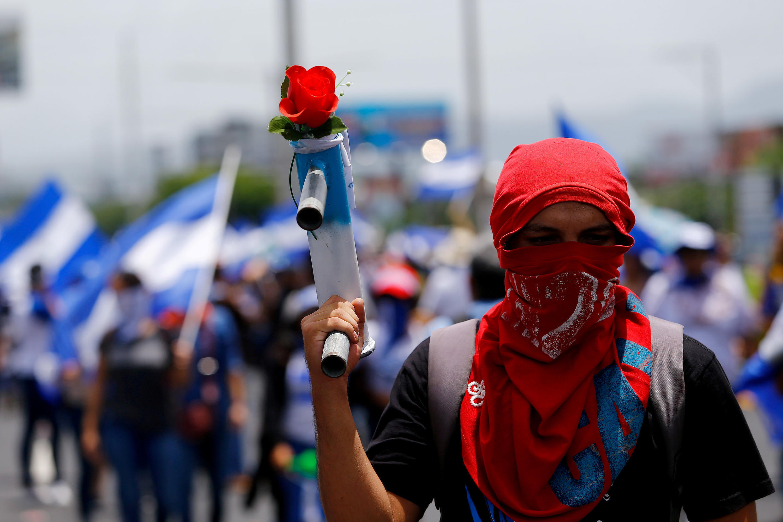 Manifestation en faveur de la libération des personnes arrêtées en marge du mouvement des derniers mois au Nicaragua, samedi 21 juillet 2018 à Managua.