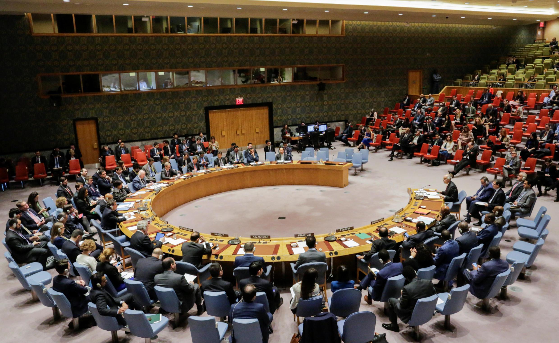 图为联合国安理会2018年4月13日会议