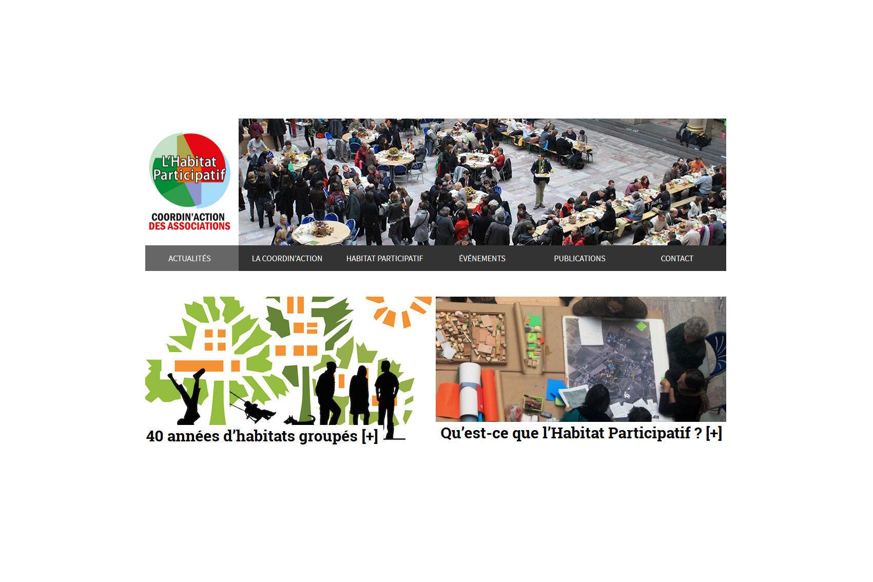 La page d'accueil du site de l'habitat participatif.net