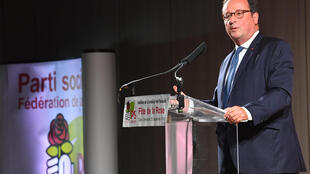 Ex-presidente François Hollande durnate discurso em Tulle no encontro anual do Partido Socialista francês, 23 de setembro 2018