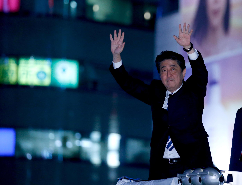 安倍晉三在東京舉行的競選集會上 2017年10月18日